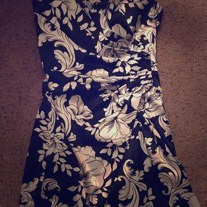 Strapless Mid Length Black and White Dress